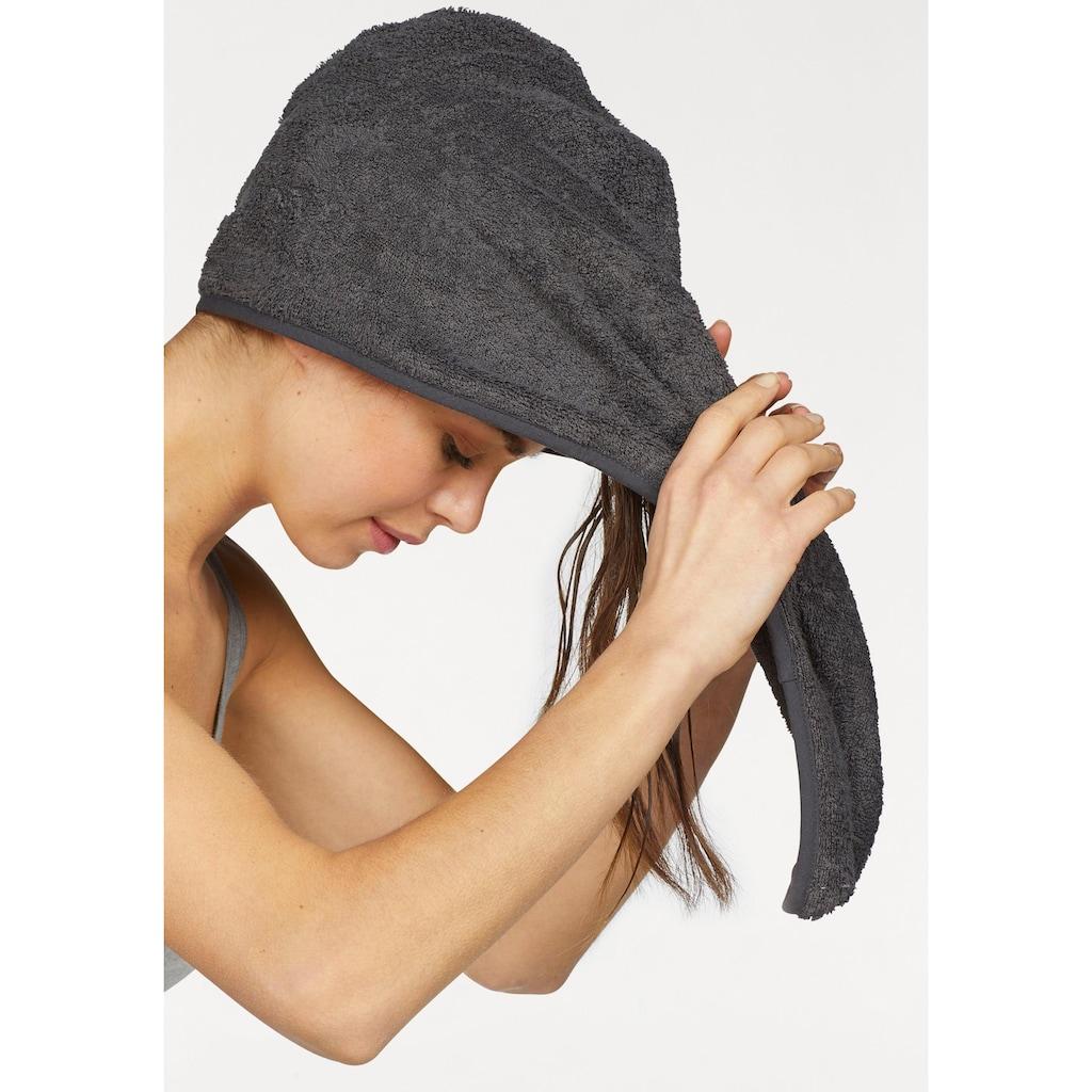 my home Turban-Handtuch »Juna«, (2 St.), mit Knopfverschluss am Hinterkopf (2 Stück)