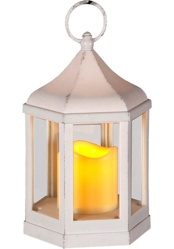 Home affaire Kerzenlaterne, 6-eckig, inkl. LED-Kerze, antikweiß kaufen