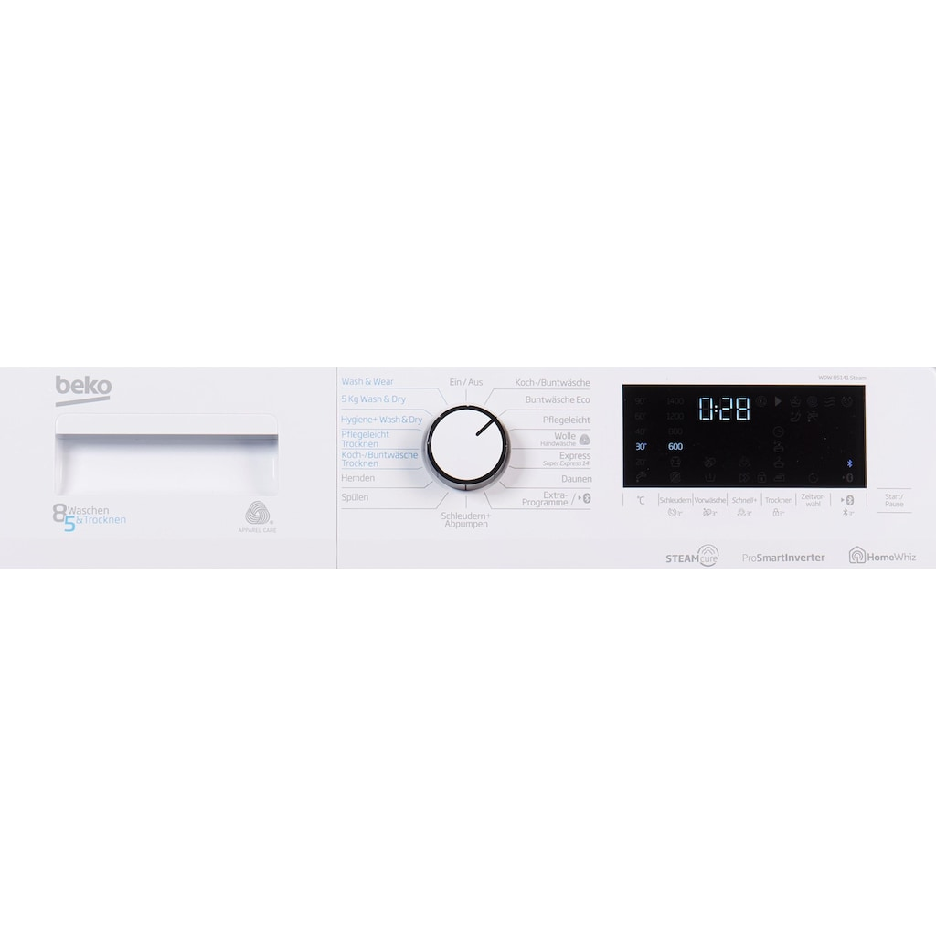 BEKO Waschtrockner »WDW 85141 Steam«, 57 dB, Dampffunktion
