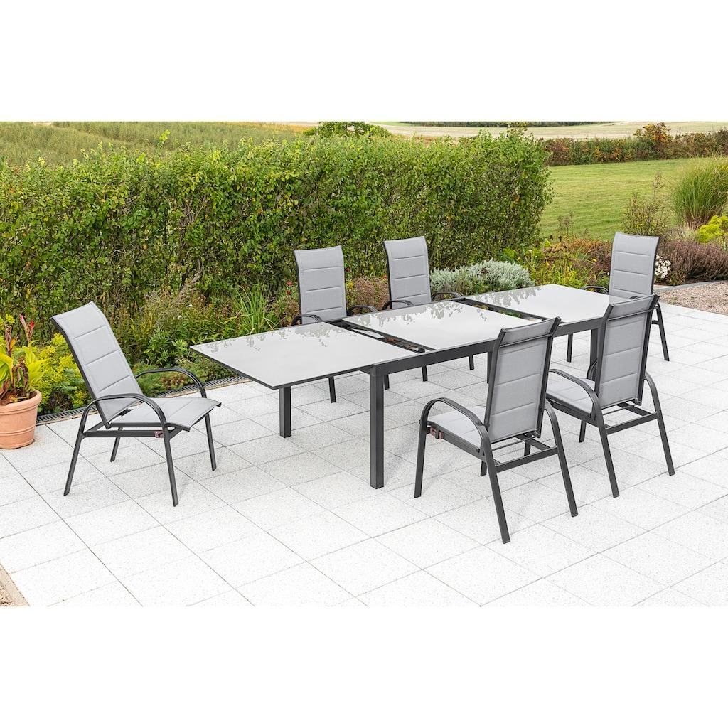 MERXX Gartenmöbelset »Marini«, (7 tlg.), 6 Klappsessel mit ausziehbarem Tisch