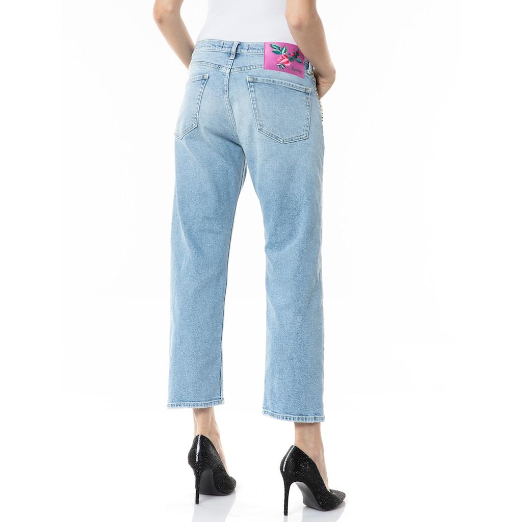 Replay Boyfriend-Jeans, Stretchqualität mit Destroyed-Effekten & Kettendetail