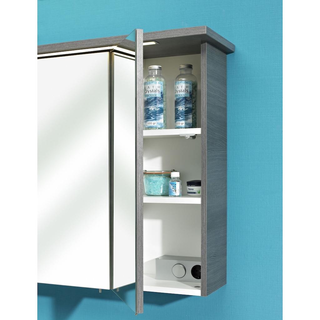 PELIPAL Badmöbel-Set »Quickset 328«, (2 St.), Spiegelschrank inkl. LED-Beleuchtung, Waschtisch-Kombination, Mineralgussbecken, Metallgriffe, Türdämpfer
