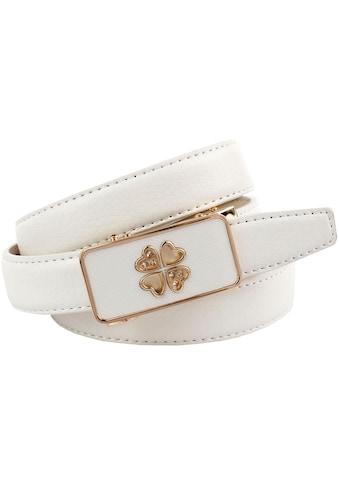 Anthoni Crown Ledergürtel, Automatik Gürtel in weiß mit teilbezogener Schließe kaufen