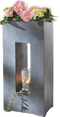 Säulenförmiger Blumentopf in Betonoptik