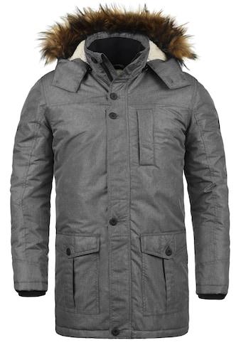 Solid Winterjacke »Octavus«, lange Jacke mit abnehmbarer Kapuze und Kunstfellkragen kaufen