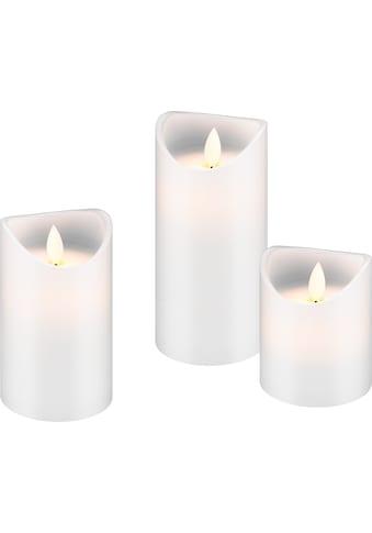 Goobay 3er Set LED Echtwachs »Kerzen, weiß« kaufen