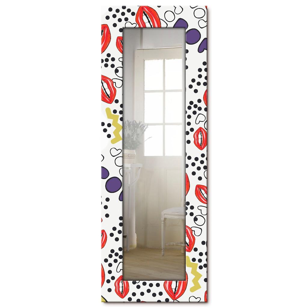Artland Wandspiegel »Mund mit Pop-Art«, gerahmter Ganzkörperspiegel mit Motivrahmen, geeignet für kleinen, schmalen Flur, Flurspiegel, Mirror Spiegel gerahmt zum Aufhängen
