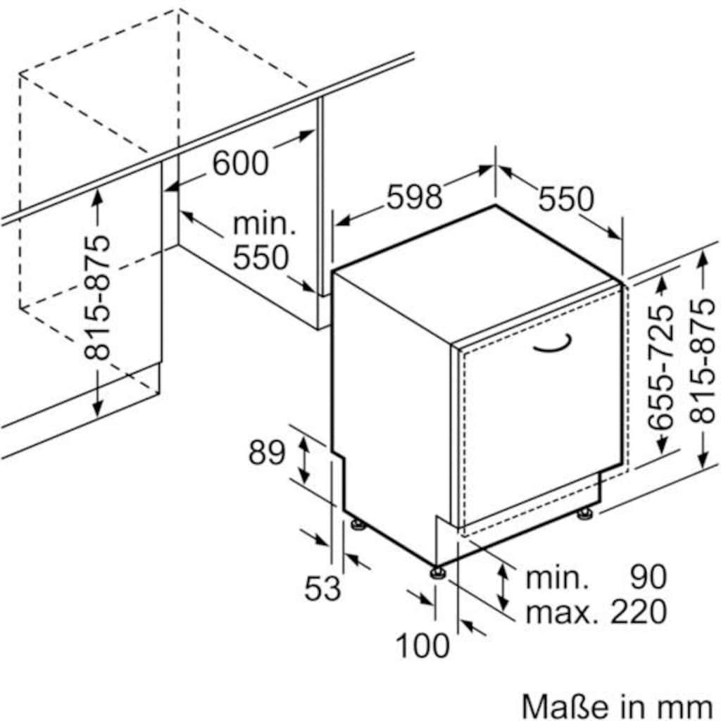SIEMENS vollintegrierbarer Geschirrspüler »SN636X07GE«, iQ300, SN636X07GE, 12 Maßgedecke
