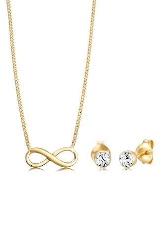 Elli Schmuckset »Infinity Ohrstecker Kristalle Silber« kaufen