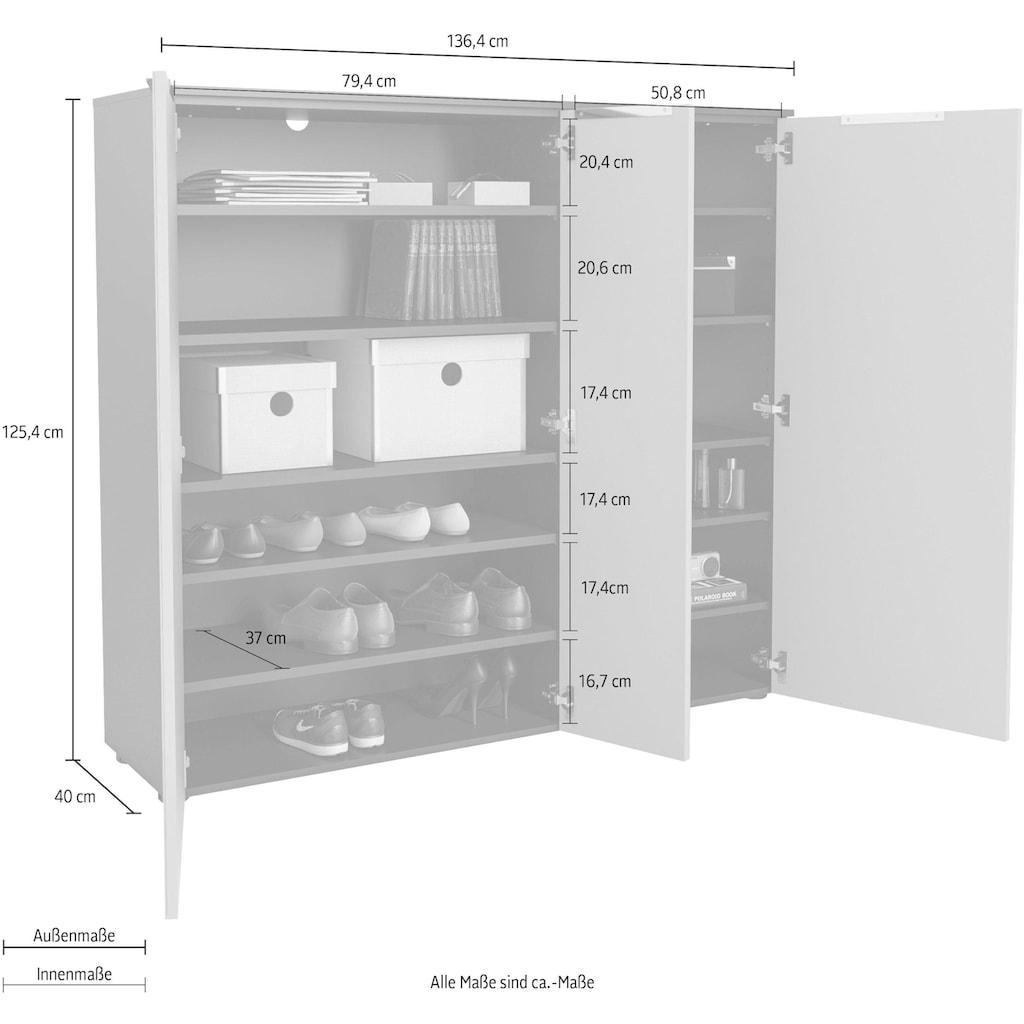 Maja Möbel Schuhschrank »TREND Schuhschrank 2577«, Oberplatte Holz, 3 gedämpfte Türen mit 10 höhenverstellbaren Einlegeböden
