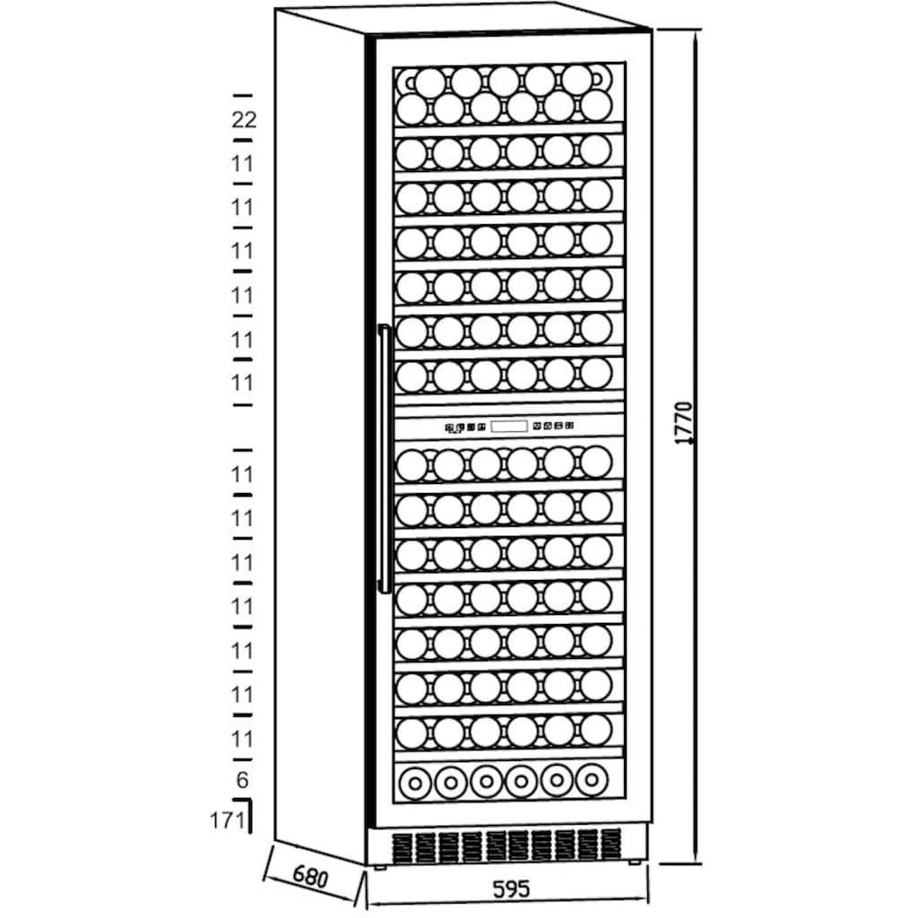 Hanseatic Weinkühlschrank »HWC171GCIA«, für 171 Standardflaschen á 075l, Edelstahlrahmen mit Anti-Fingerprint