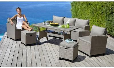 KONIFERA Loungeset »Amsterdam«, (16 St.), 3er Sofa, 2 Sessel, 2 Hocker, Tisch, Polyrattan kaufen