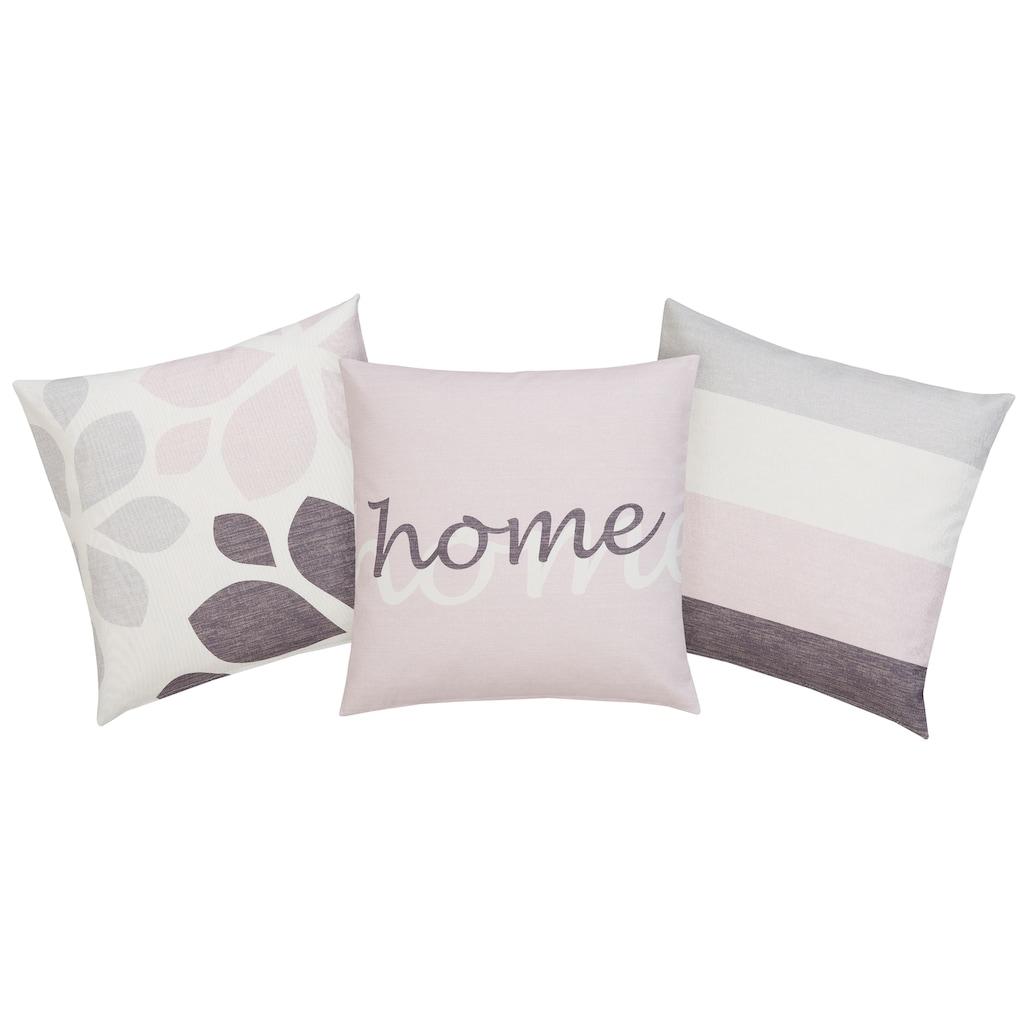 Home affaire Kissenhüllen »Mia«, (3 St., 3x 40x40cm), 3 verschiedene Designs in einem Set
