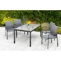 MERXX Gartenmöbelset »Bellino«, (5 tlg.), 4 Gartensessel mit Tisch für den Outdoorbereich