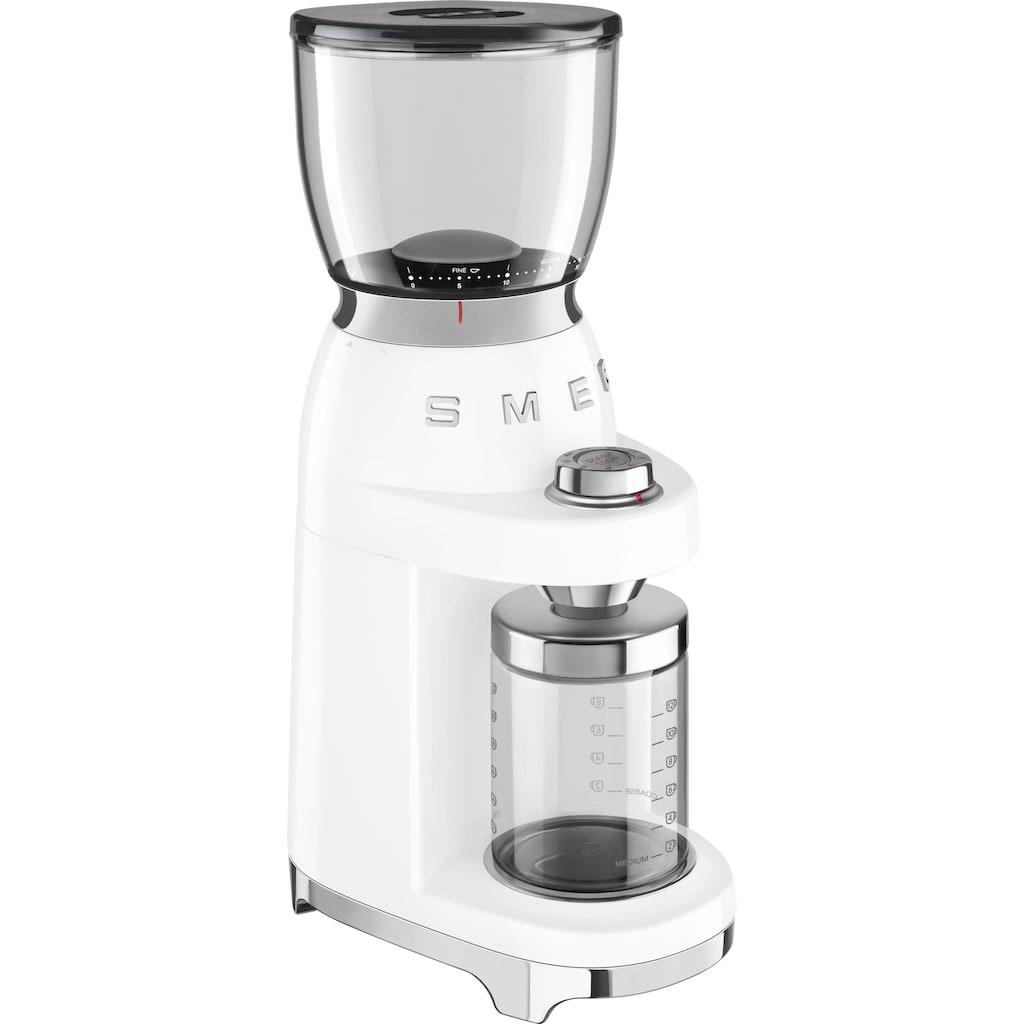 Smeg Kaffeemühle »CGF01WHEU«, 150 W, Kegelmahlwerk, 350 g Bohnenbehälter