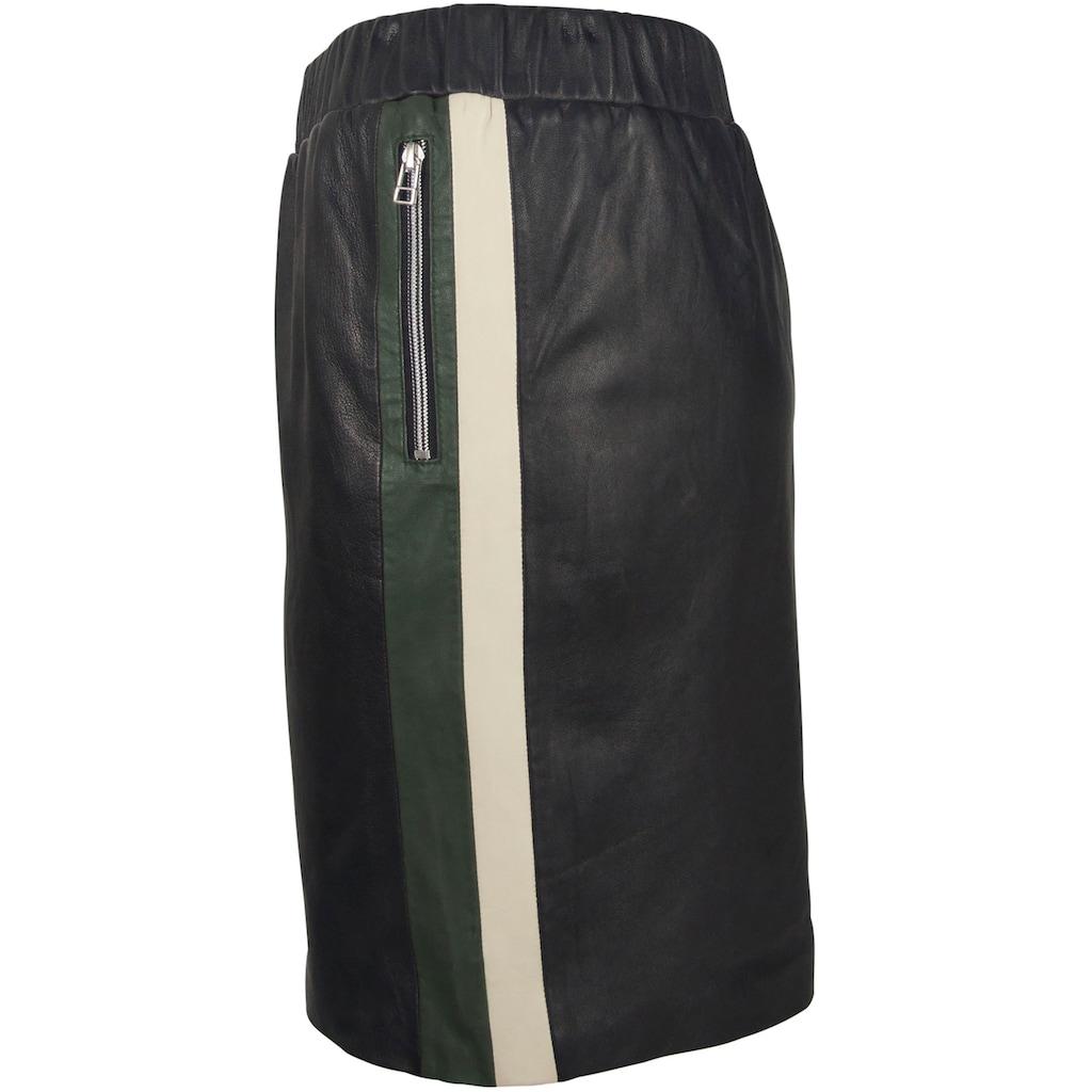 Gipsy Lederrock, mit Zippertaschen & zweifarbigem Seitenstreifen