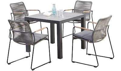 BEST Gartenmöbelset »Bormio«, 5 - tlg., 4 Sessel, Tisch 90x90 cm, inkl. Sitzkissen kaufen