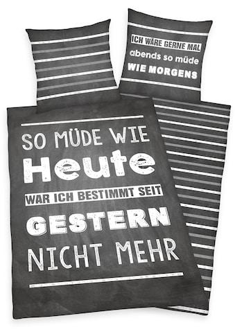 Herding Young Collection Jugendbettwäsche »Müde«, mit Spruch kaufen
