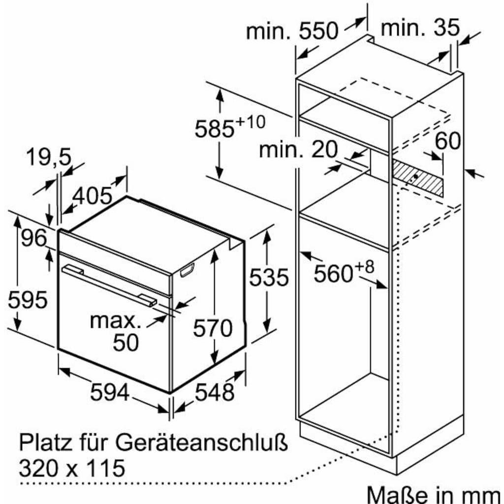 Constructa Einbaubackofen »CF3M60050«, CF3M60050, mit Teleskopauszug nachrüstbar