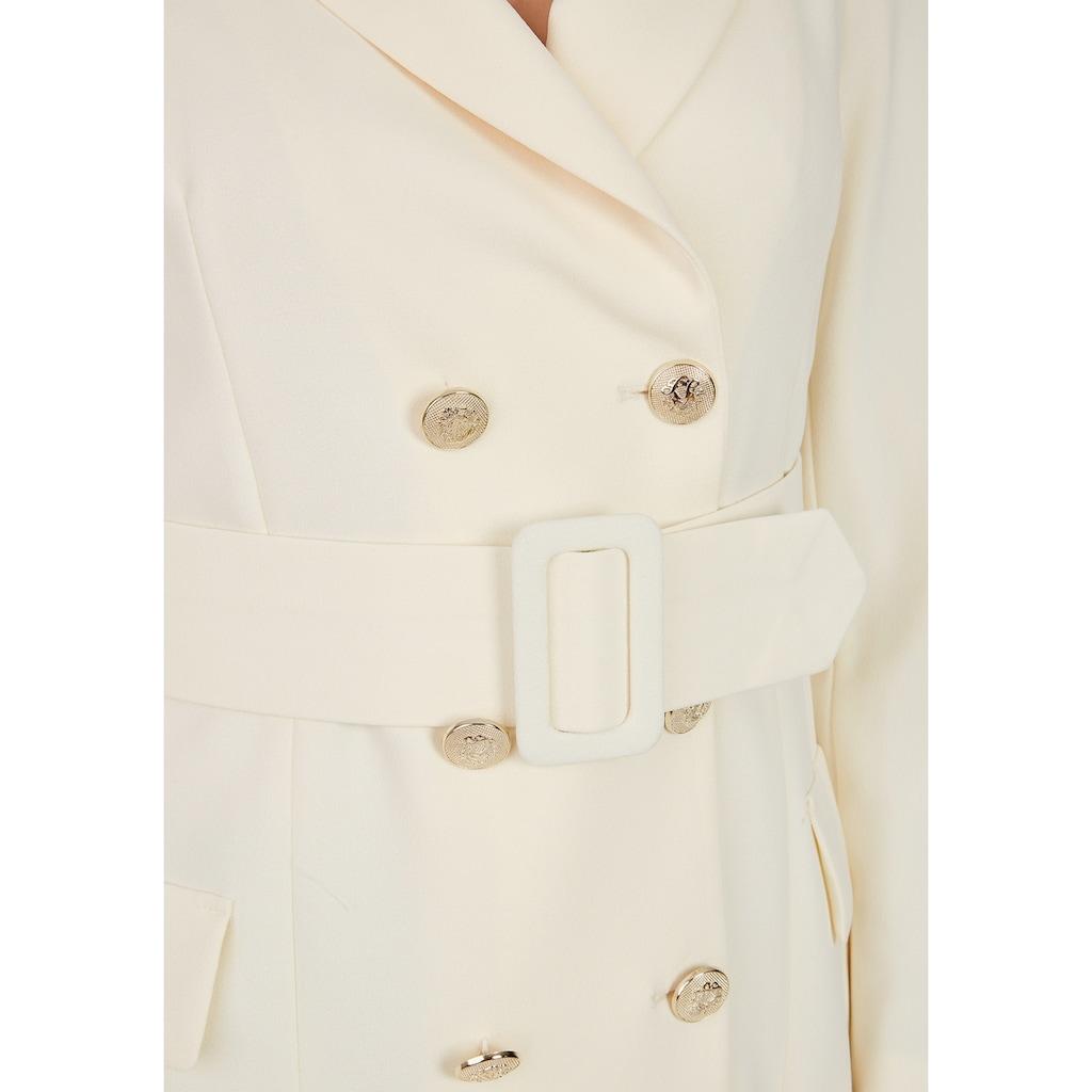 Nicowa Long-Blazer mit doppelter Knopfleiste und Gürtel - LENINO
