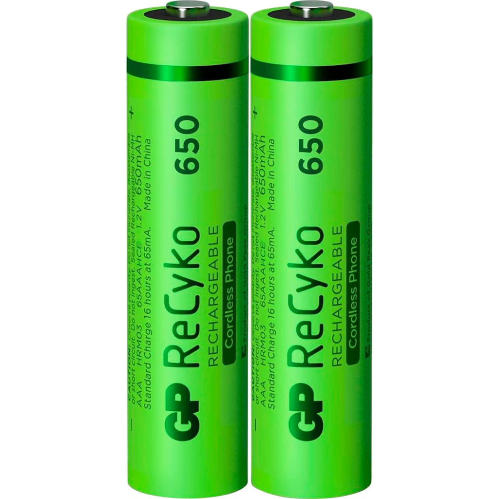 GP Batteries Akku »AAA Akku GP NiMH 650 mAh ReCyko 1,2V 2 Stück«, AAA, 650 mAh