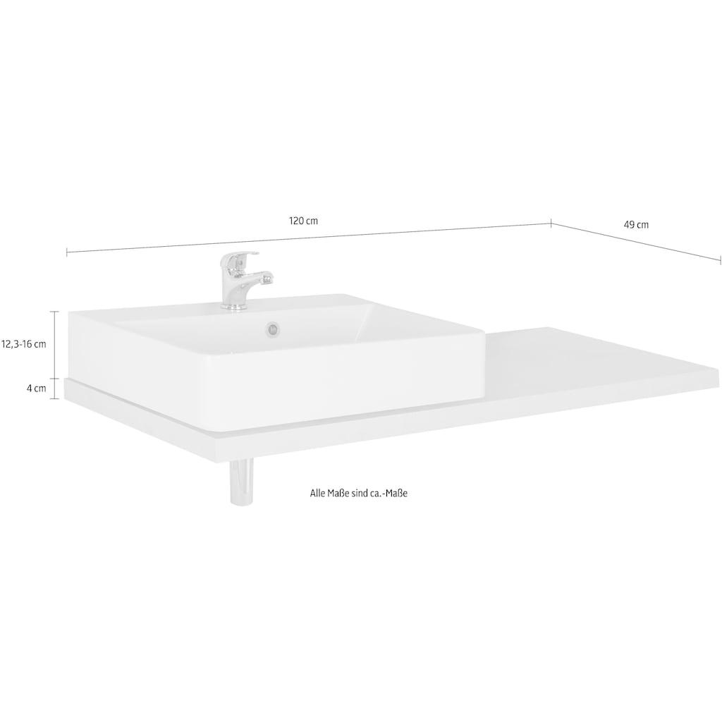 MARLIN Waschtisch »Laos 3110«, Breite 120 cm, Farbe Waschtischplatte & Waschbeckenart wählbar, Becken links