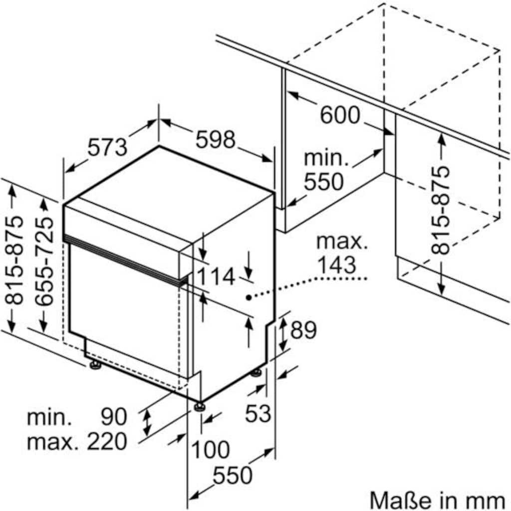 SIEMENS teilintegrierbarer Geschirrspüler »SN536S07GE«, iQ300, SN536S07GE, 12 Maßgedecke