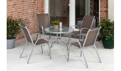 MERXX Diningset »Sorrento«, 5 - tlg., 4x Stapelsessel, Tisch Ø 90 cm kaufen
