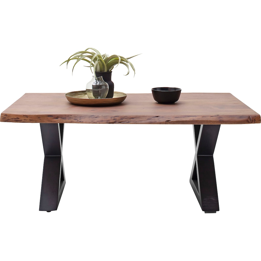 MCA furniture Couchtisch »Cartagena«, Couchtisch Massivholz mit Baumkante und natürlichen Rissen und Löchern