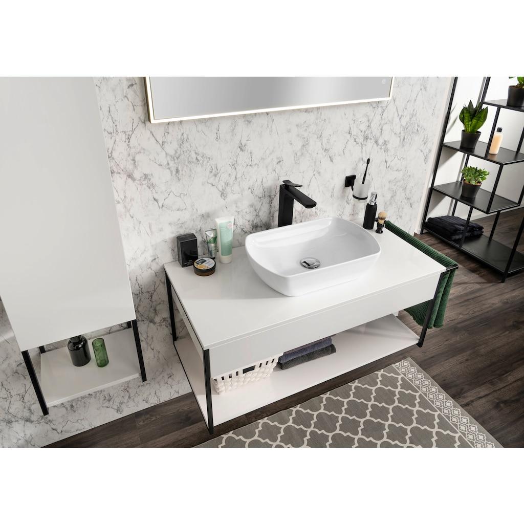 FACKELMANN Waschbeckenunterschrank »New York«, Push-To-Open-Technik, inkl. Handtuchhalter seitlich