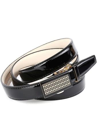 Anthoni Crown Ledergürtel, Schmaler Business-Lackledergürtel, Glasschließe kaufen
