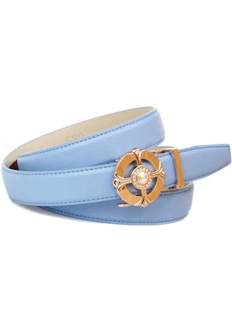 Anthoni Crown Ledergürtel, Gürtel in hellblau mit Schmucksteinen besetzt kaufen