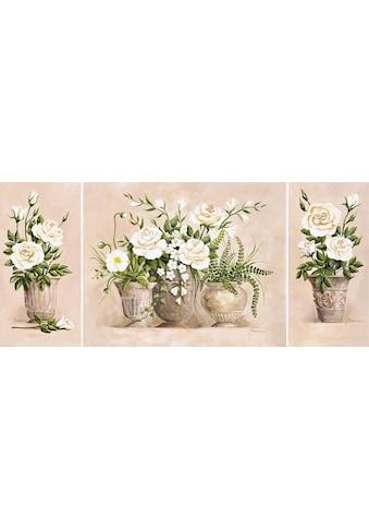 Home affaire Kunstdruck »Rosen Bouquet«, (Set), 3er Set, 132/59 cm kaufen
