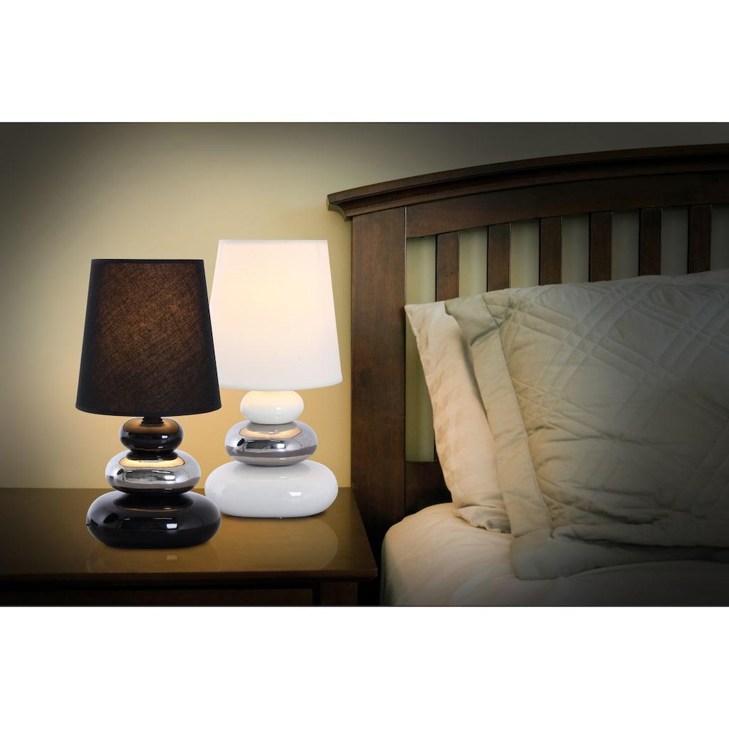 näve Tischleuchte »Stoney«, E14, Tischlampe mit Keramikfuß und Textilschirm