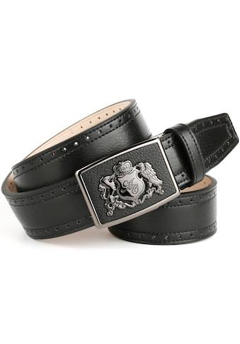 Anthoni Crown Ledergürtel, mit Anthoni Crown Wappen, Ausstanzungen am Rand kaufen