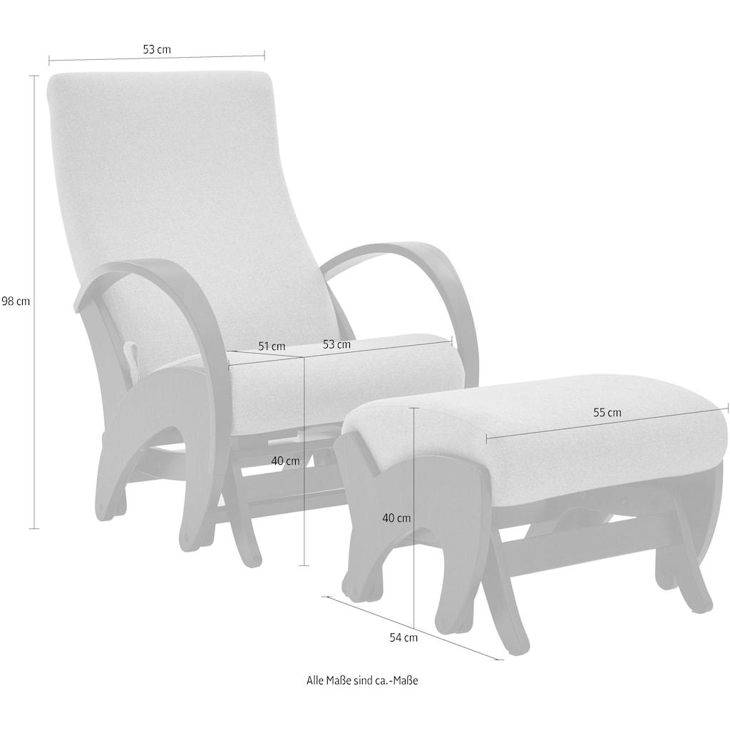 ATLANTIC home collection Relaxsessel, mit Rückenverstellung und Schaukelfunktion, Set inklusive Hocker