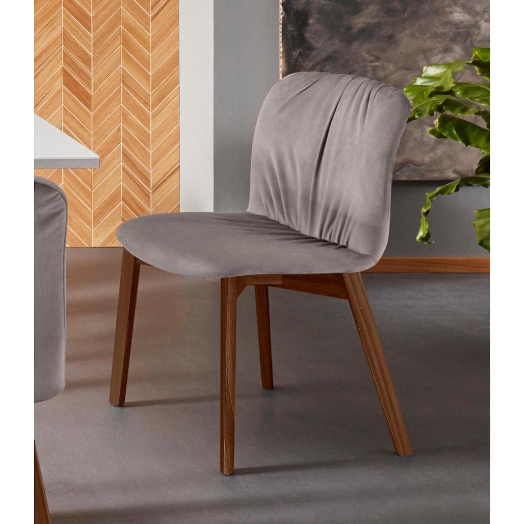 Places of Style Esszimmerstuhl »Effie«, 2er Set, aus einem schönen massivem Buchenholzgestell, mit weichem Velvet Bezug