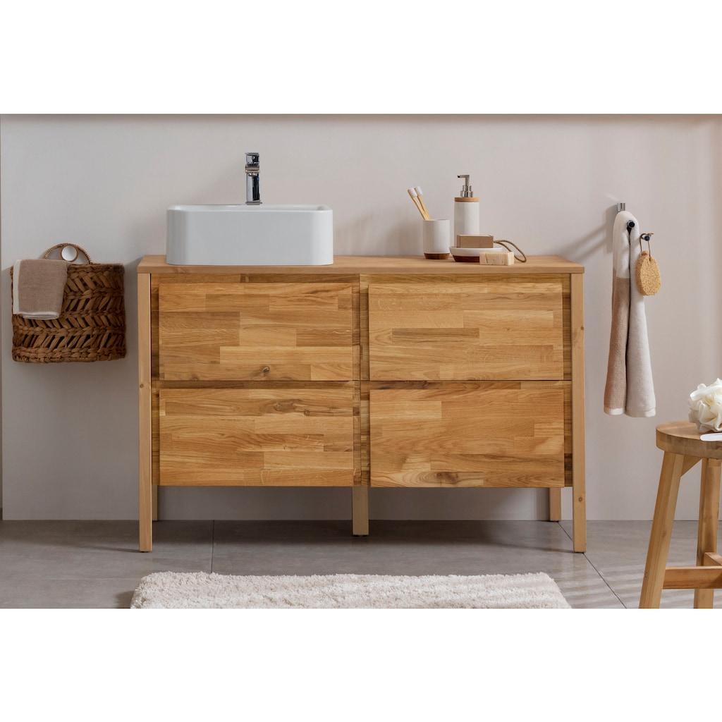 OTTO products Waschbeckenunterschrank »Onnika«, Breite 110 cm, vegan, Massivholz mit pflanzlichem Bio Öl behandelt
