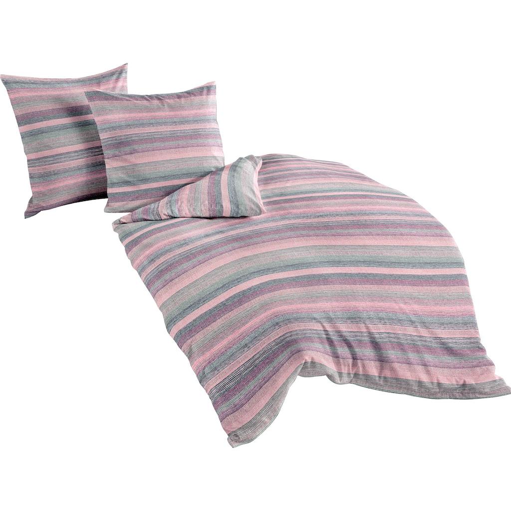 BIERBAUM Bettwäsche »Berry stripes«, mit beerefarbenden Streifen