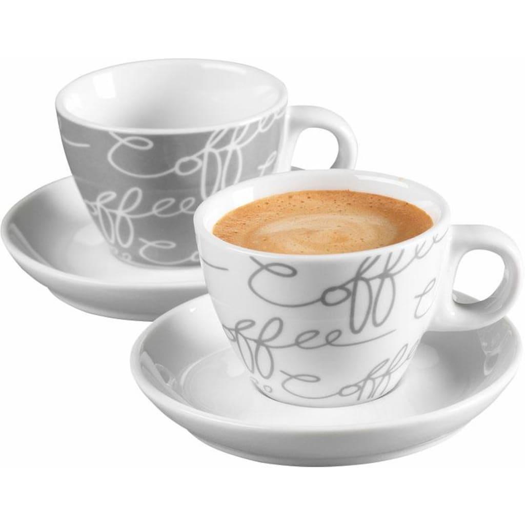 Ritzenhoff & Breker Espressotasse »Cornello Grey«, (Set, 4 tlg.), 2 Tassen, 2 Untertassen