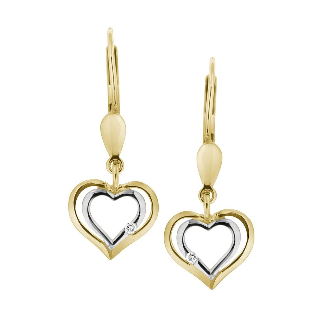 Firetti Paar Ohrhänger »Herz«, mit Brillanten