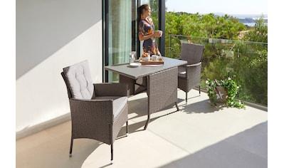 KONIFERA Gartenmöbelset »Mailand«, (7 tlg.), 2 Sessel, Tisch 112x65 cm, Polyrattan kaufen