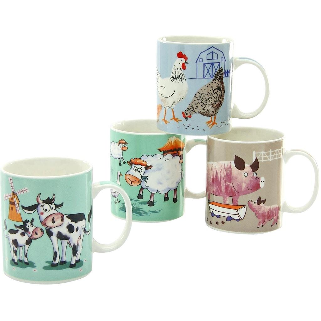 CreaTable Becher »Farm Animals«, (Set, 4 tlg.), ideal als Kinderbecher, 4-teilig