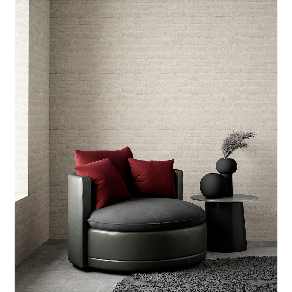 ATLANTIC home collection XXL-Sessel, runder Big Sessel, Sitz, Rücken und Zierkissen Samt, extra weich und kuschelig, Füllung mit Federn