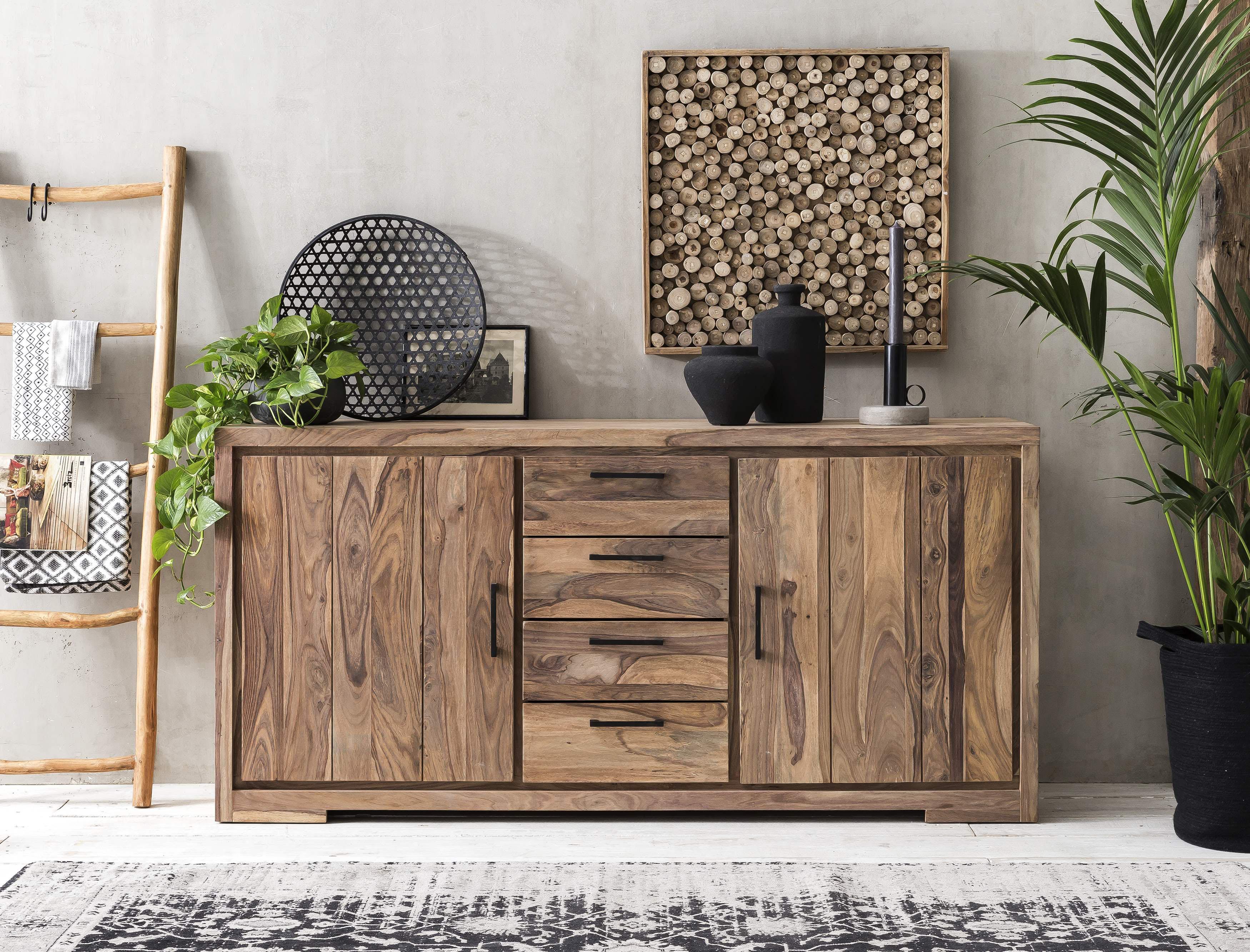 Sideboard »Sanam« aus Sheesham Holz mit schöner Struktur, Breite 176 cm