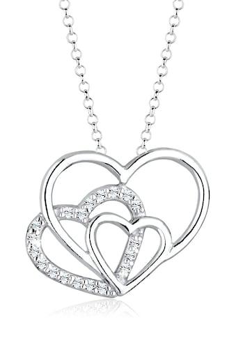 Elli Collierkettchen »3-Faches Herz Kristalle 925 Silber« kaufen