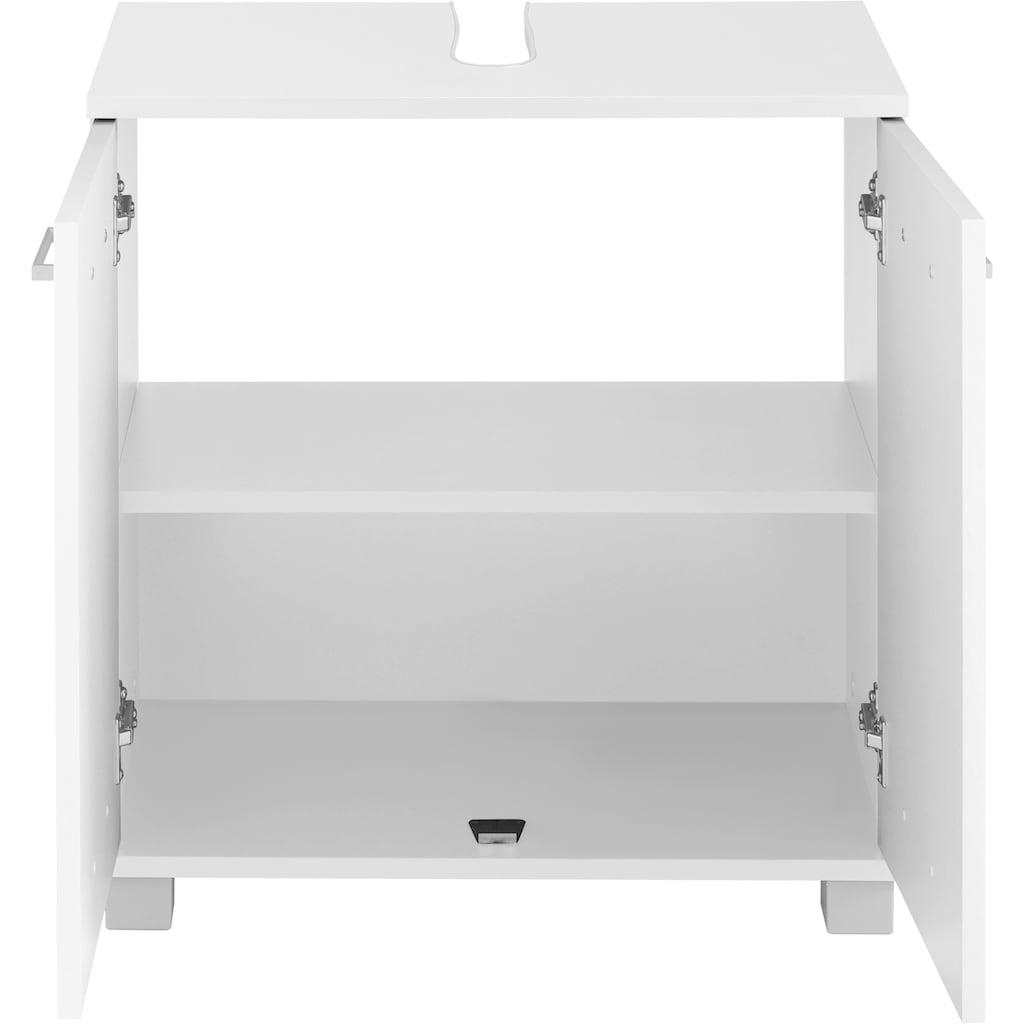 Schildmeyer Waschbeckenunterschrank »Mobes«, Breite/Höhe: 59,8/62,4 cm, Badschrank mit Doppeltür, durchgängiger Zwischenboden, Aussparung für Abwasserleitung