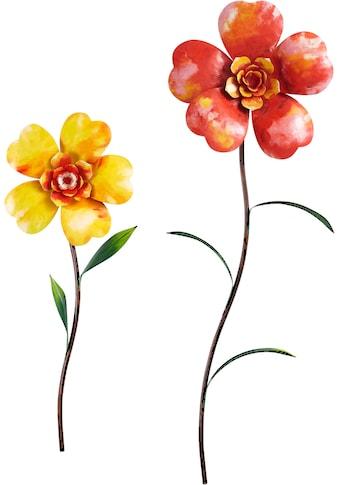 Home affaire Wanddekoobjekt »Flower«, Wanddeko, aus Metall, Motiv Blumen kaufen