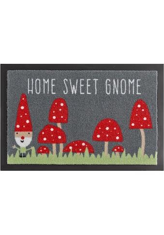 HANSE Home Fußmatte »Home Sweet Gnome«, rechteckig, 7 mm Höhe, Fussabstreifer, Fussabtreter, Schmutzfangläufer, Schmutzfangmatte, Schmutzfangteppich, Schmutzmatte, Türmatte, Türvorleger, mit Spruch, rutschhemmend beschichtet kaufen