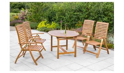 MERXX Gartenmöbelset »Paraiba«, 5 - tlg., 4 Klappsessel, Tisch 120 - 170x100 cm, verstellbar kaufen